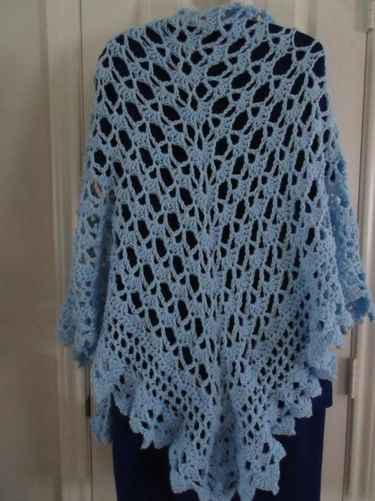 Beautiful 10 Shell Stitch Crochet Shawls Inspired by the Virus Shawl Crochet A Shawl Of Beautiful Cornflower Blue Free Crochet Pattern Crochet A Shawl