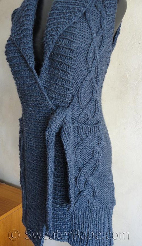 122 tie front cabled long vest knitting pattern by sweaterbabe