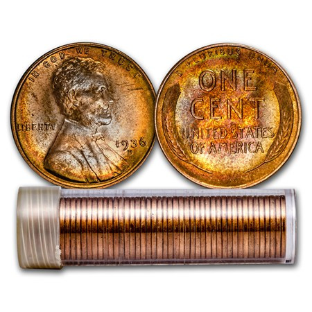 Beautiful 1936 D Lincoln Cent 50 Coin Roll Bu Wheat Penny Rolls Of Awesome 43 Photos Wheat Penny Rolls