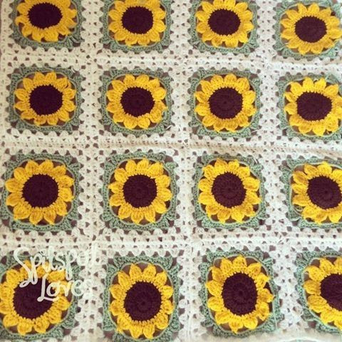Beautiful 25 Best Ideas About Crochet Sunflower On Pinterest Sunflower Crochet Blanket Of Elegant Hand Crocheted Sunflower Granny Square Blanket Afghan Throw Sunflower Crochet Blanket