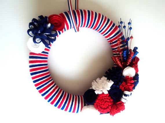Beautiful 4th Of July Red White and Blue Yarn Wreath by 3sunshinekisses Red White and Blue Yarn Of Awesome 48 Pictures Red White and Blue Yarn