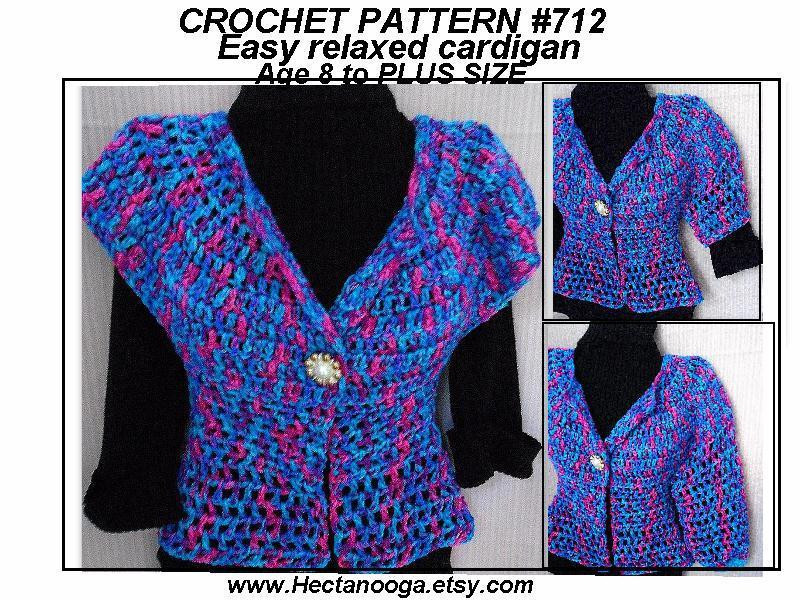 712 EASY CARDIGAN SHRUG VEST SWEATER by Hectanooga Craftsy