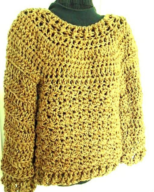 866 XS S Chunky Oversized Pullover Sweater Crochet pattern