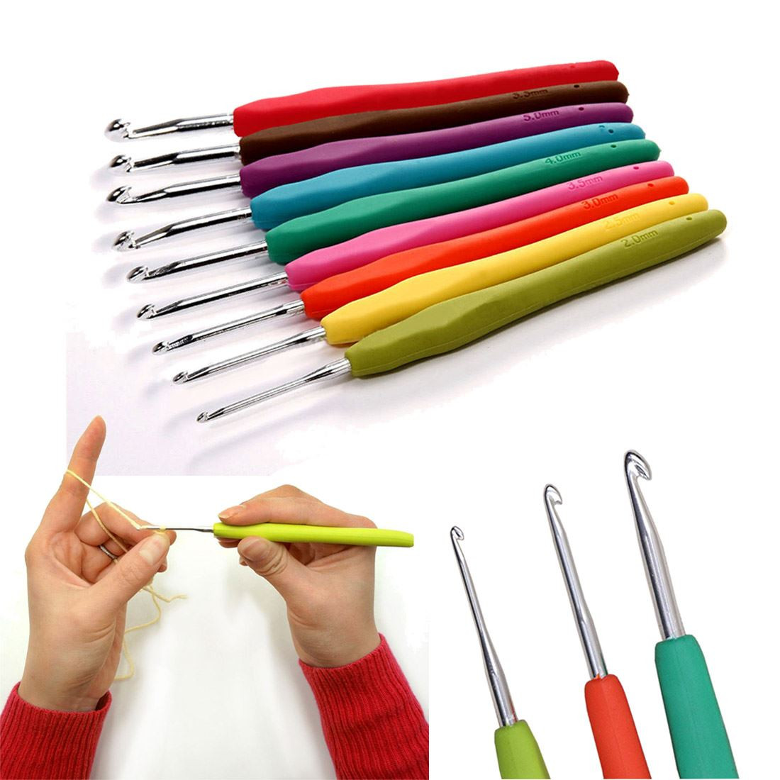 Beautiful 9 Sizes soft Plastic Handle Aluminum Crochet Hooks Knitting Needle Sets Of Superb 42 Pictures Knitting Needle Sets