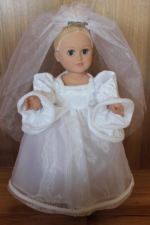 Beautiful American Girl Doll Wedding Dress and Veil Includes Silver American Girl Doll Wedding Dress Of Beautiful American Girl Doll Wedding Dress Satin and Silver American Girl Doll Wedding Dress