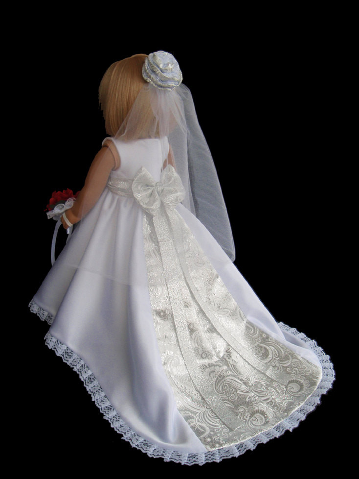 Beautiful American Girl Doll Wedding Dress Satin and Silver American Girl Doll Wedding Dress Of Elegant Handmade 18 Doll Wedding Dress Five Piece by Creationsbynoveda American Girl Doll Wedding Dress