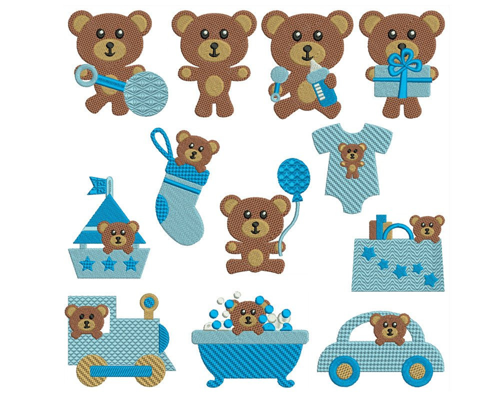 Beautiful Baby Bears Boy Machine Filled Embroidery Patterns Baby Embroidery Of Gorgeous 42 Ideas Baby Embroidery