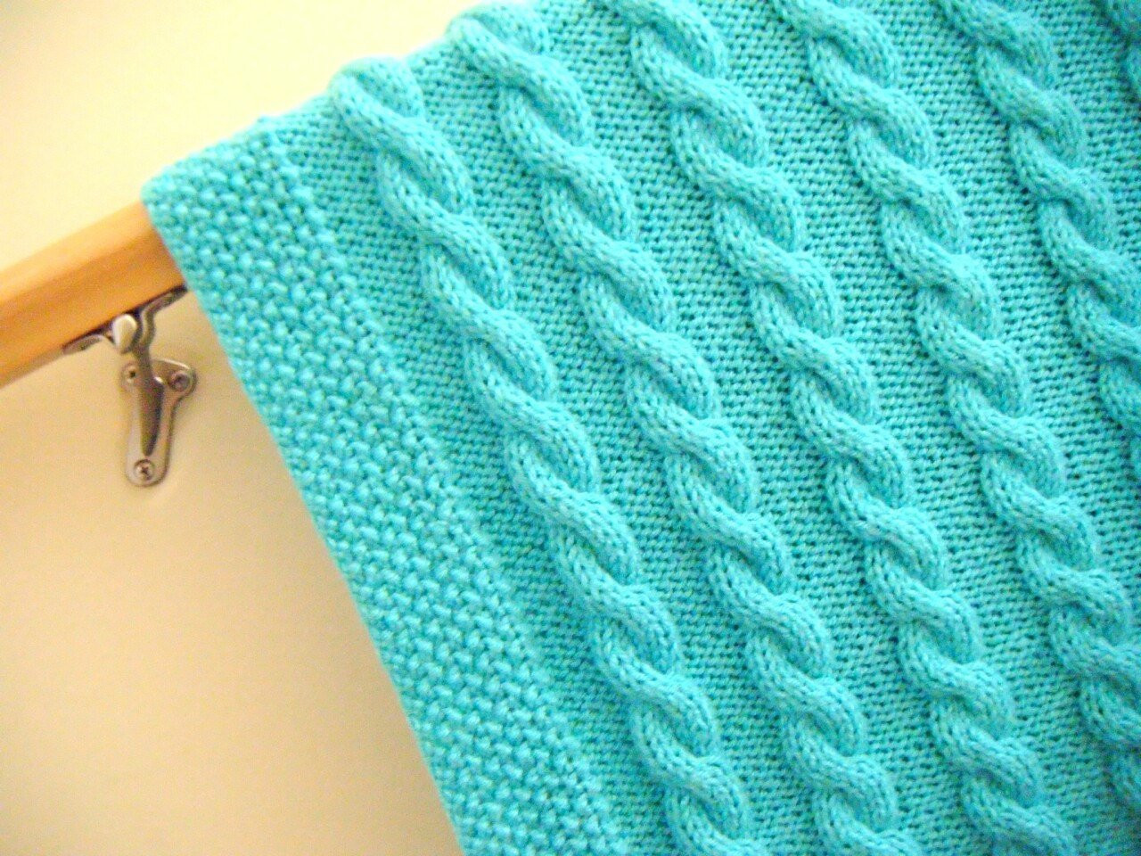 Baby blanket knitted cable pattern very soft turquoise