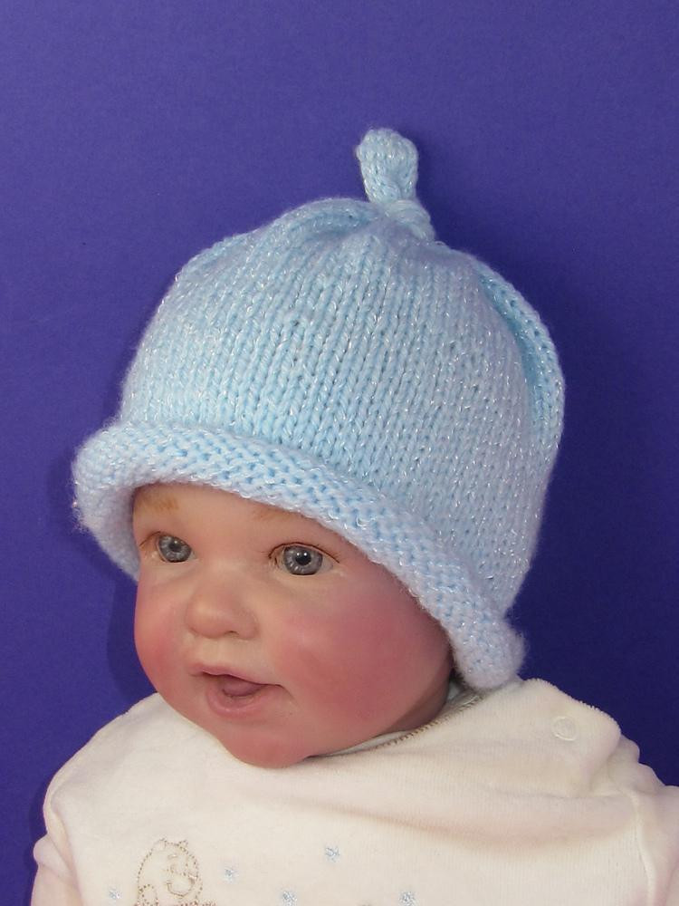 Baby Roll Brim Topknot Beanie Hat Knitting pattern by