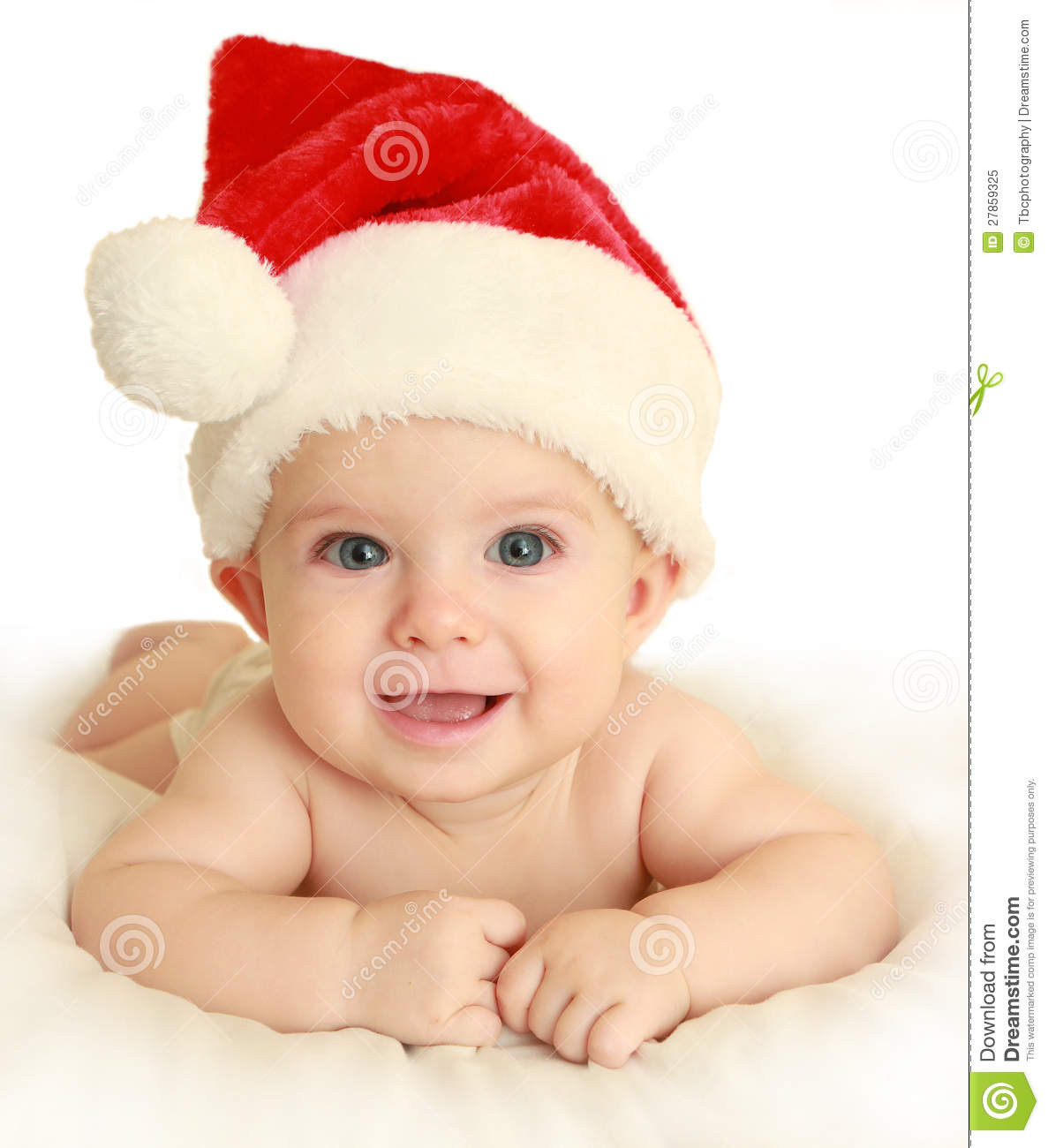 Beautiful Baby the Bed Wearing Santa Hat Stock Image Image Baby Christmas Hat Of Brilliant 46 Photos Baby Christmas Hat