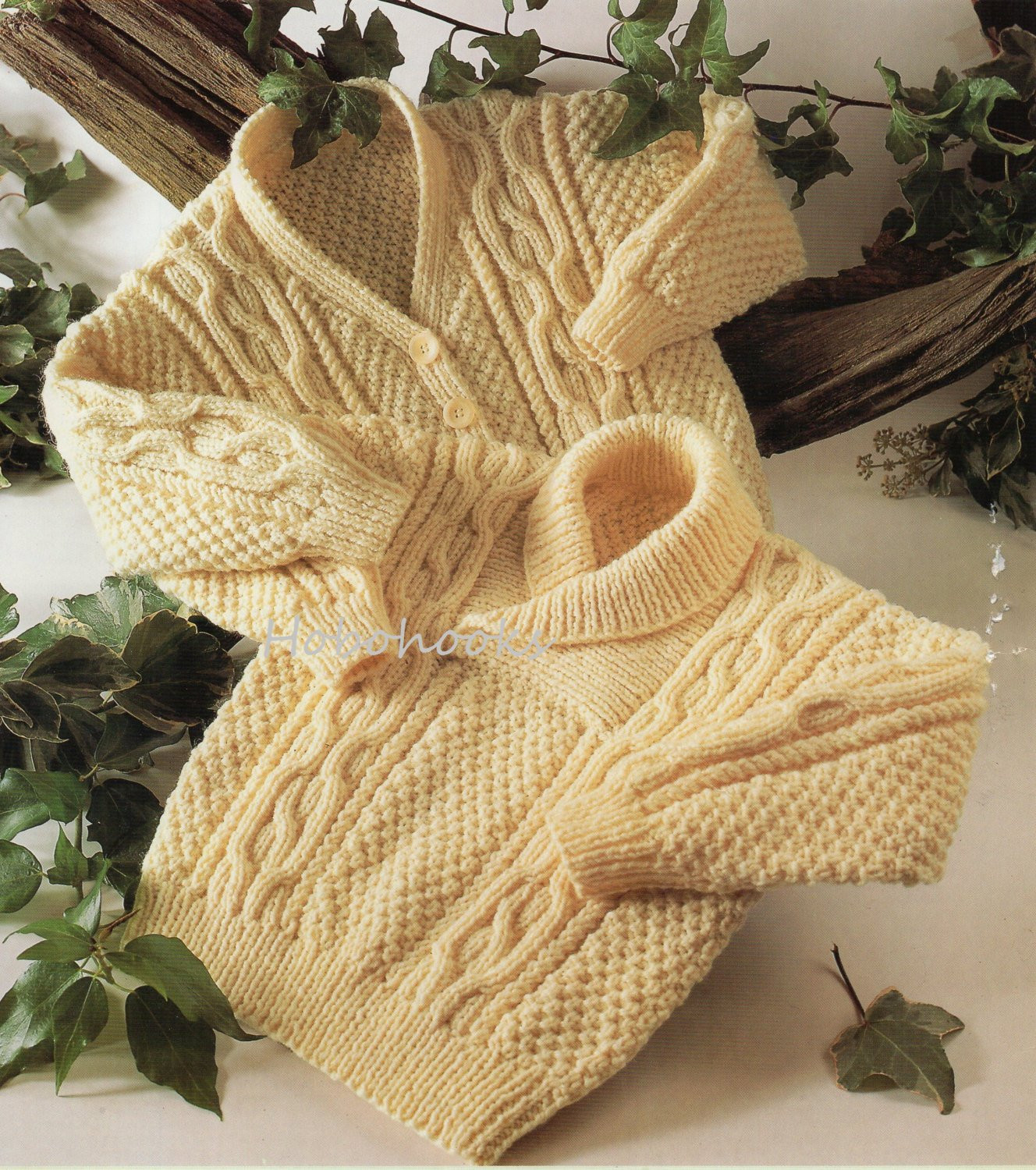 Baby toddler childrens aran sweater cable sweater shawl collar