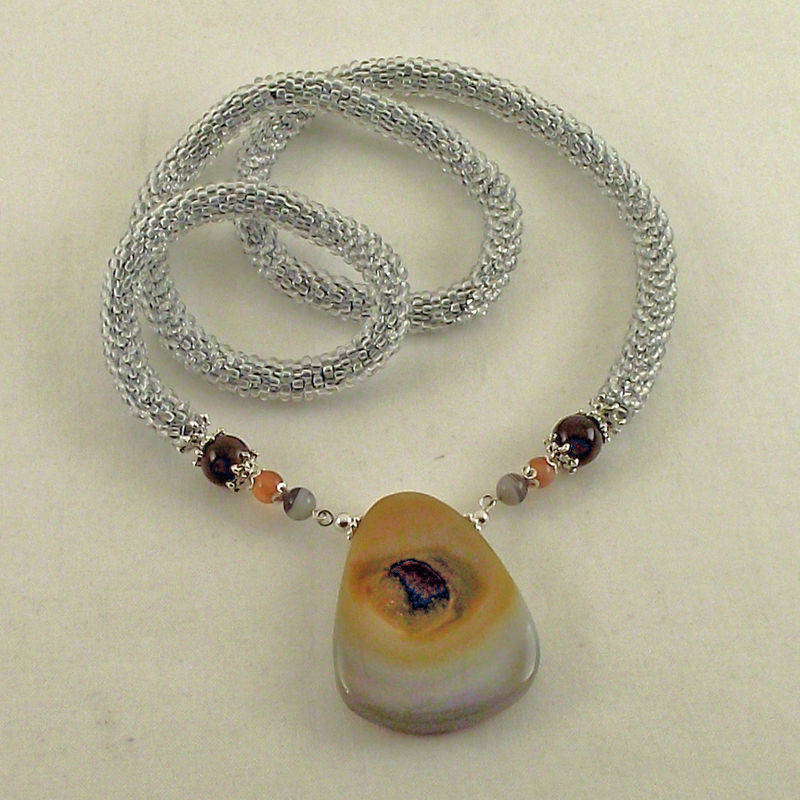 Bead Crochet Crocheted Bead Rope Necklace Agate Druzy