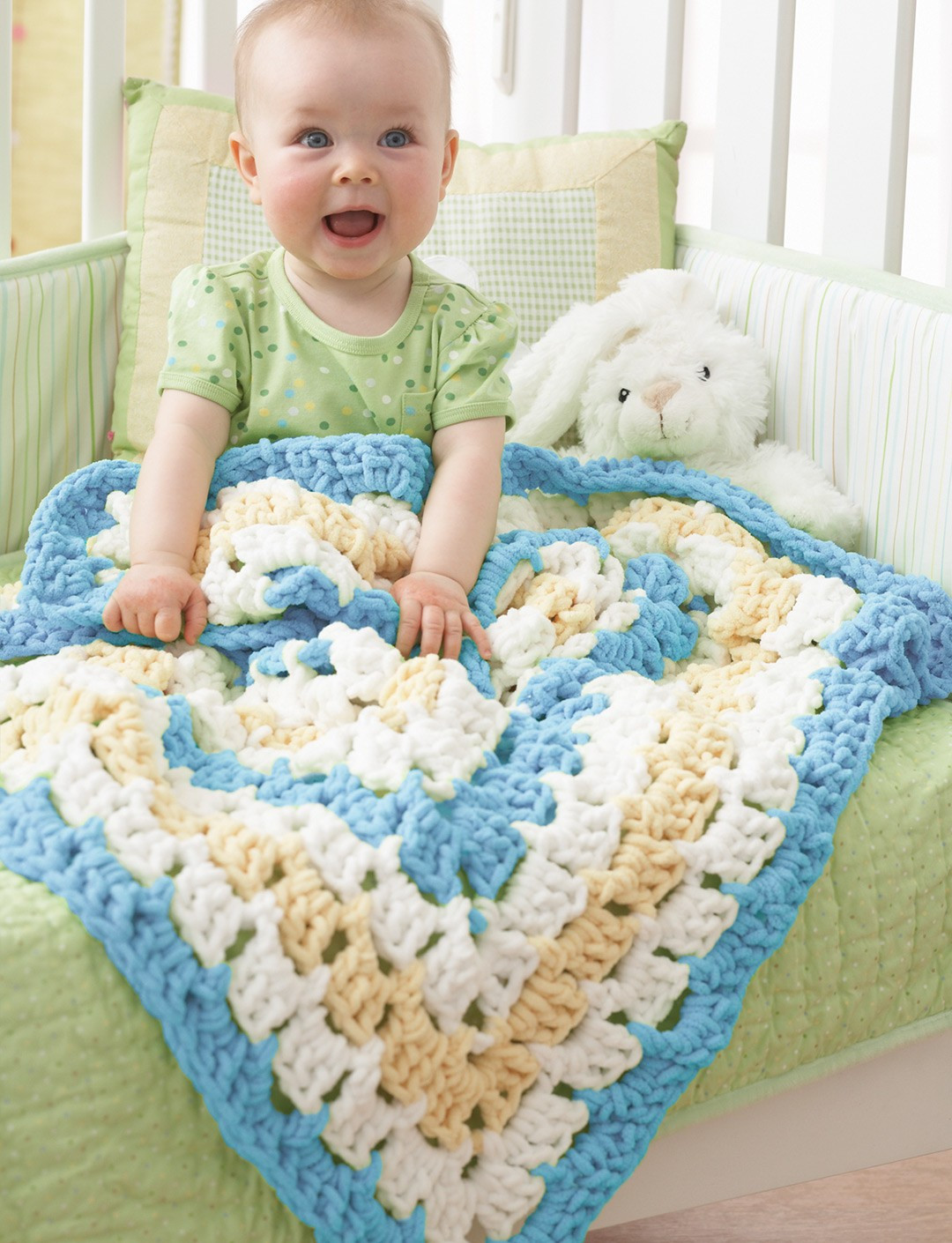 Bernat From the Middle Baby Blanket Crochet Pattern