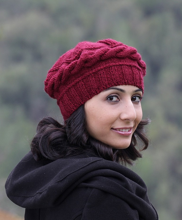 Beautiful Burgundy Knit Hat Burgundy Hat Burgundy Winter Beret Knit Beret Of Beautiful 41 Models Knit Beret