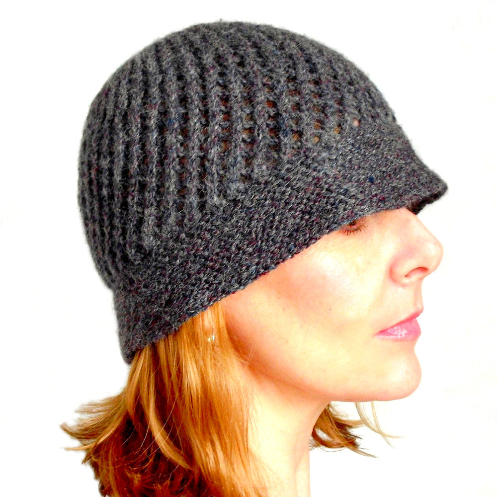 Buy Anna Hand Knit Grey Alpaca Wool Lacy Cloche Hat Try