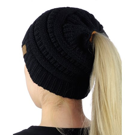 C C BeanieTail Soft Stretch Cable Knit Messy High Bun
