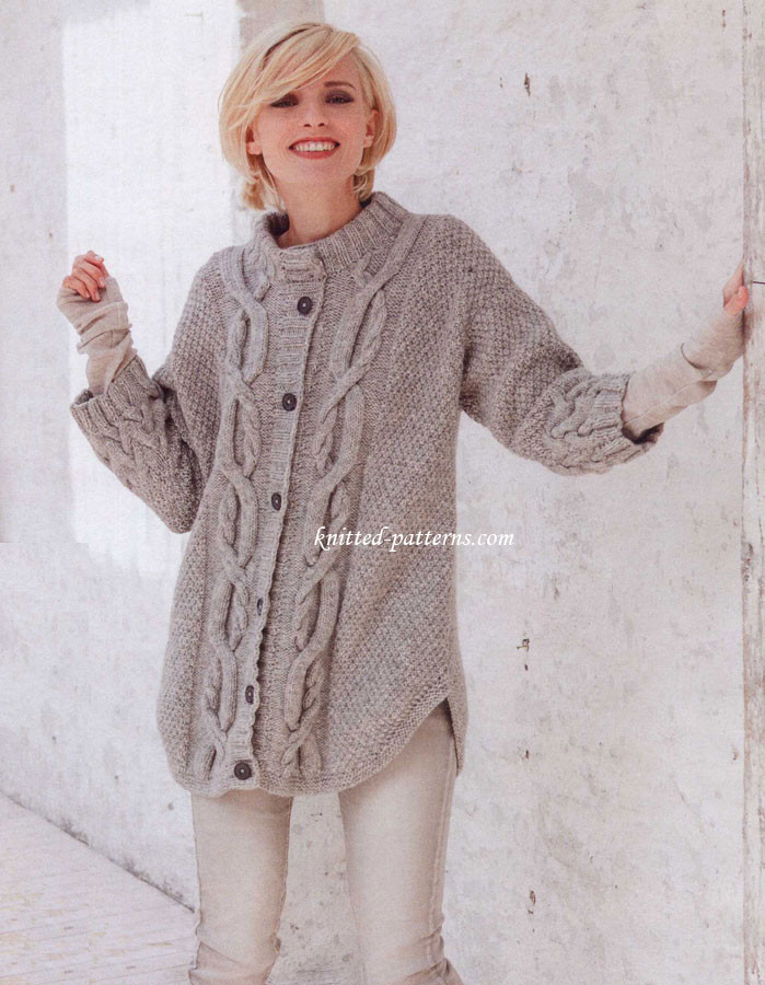 "Beautiful Cable Pattern Cardigan Cable Knit Sweater Pattern Of New Lace & Cable Sweater Dk Wool 30"" 40"" Knitting Cable Knit Sweater Pattern"