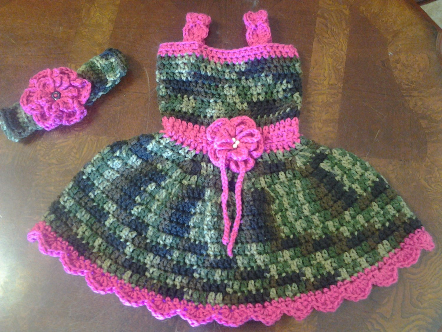 Beautiful Camo and Pink Baby Dress & Headand Wirh Flower Easter Dress Pink Camouflage Yarn Of Charming 42 Pics Pink Camouflage Yarn