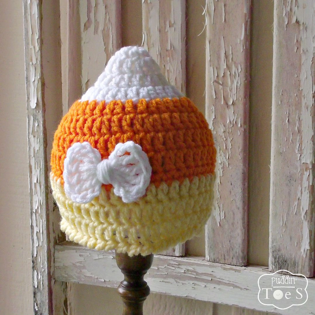 Candy Corn Baby Hat Baby Bow Hat Newborn Candy Corn Fall