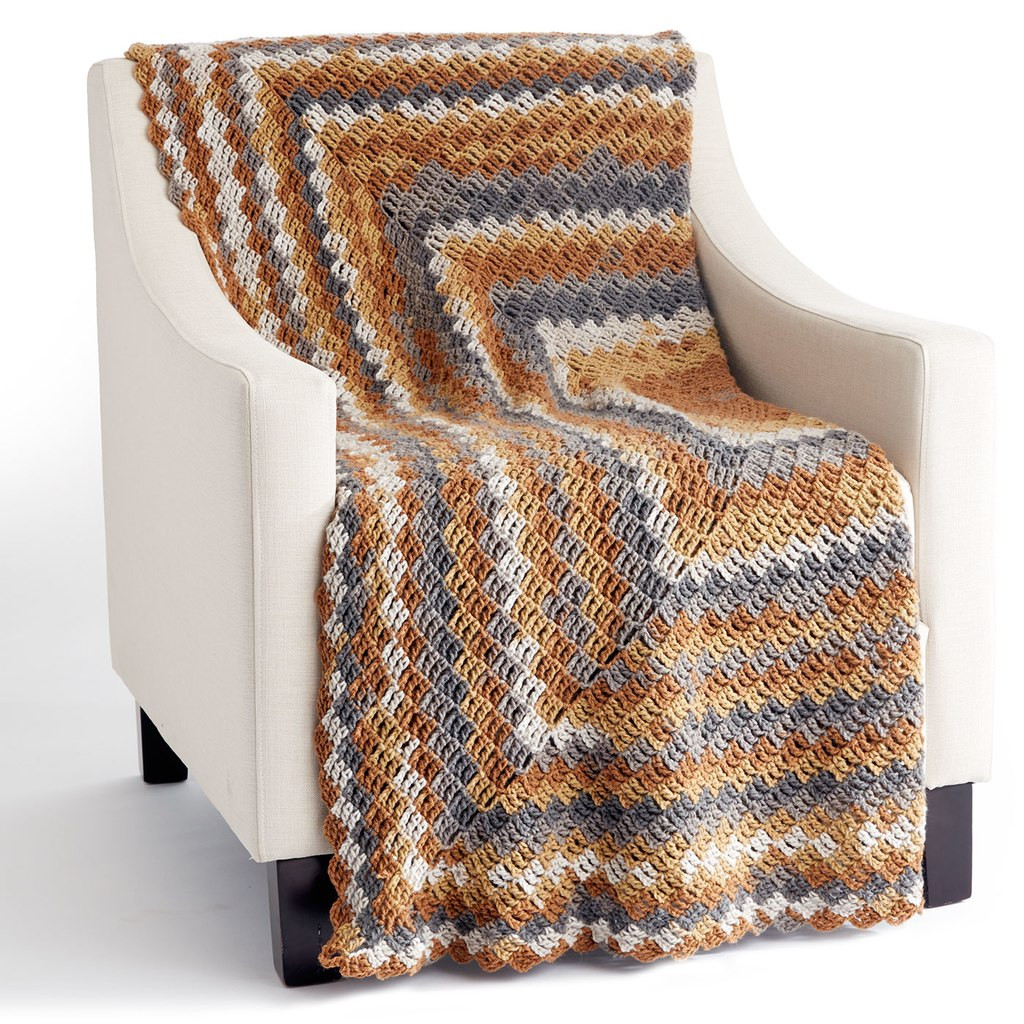 Caron Big Cakes™ Stacking Blocks Crochet Blanket in Tiramisu