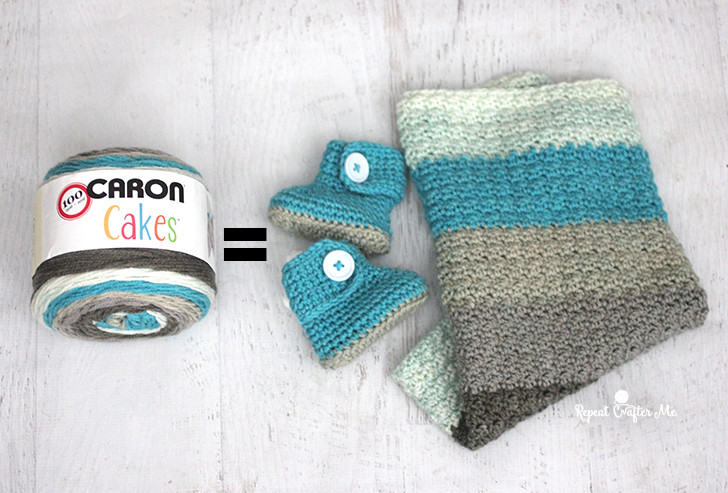 Caron Cakes Yarn Button Baby Booties and Blanket Repeat