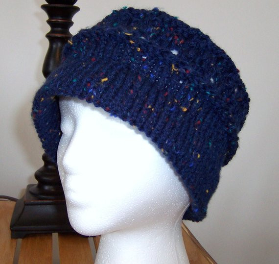 Beautiful Chemo Hat Knitted Cloche Style Women Blue Tweed soft Knitted Chemo Hats Of Incredible 50 Models Knitted Chemo Hats