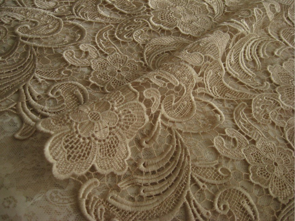 Chic champagne Lace Fabric Crocheted lace fabric Bridal
