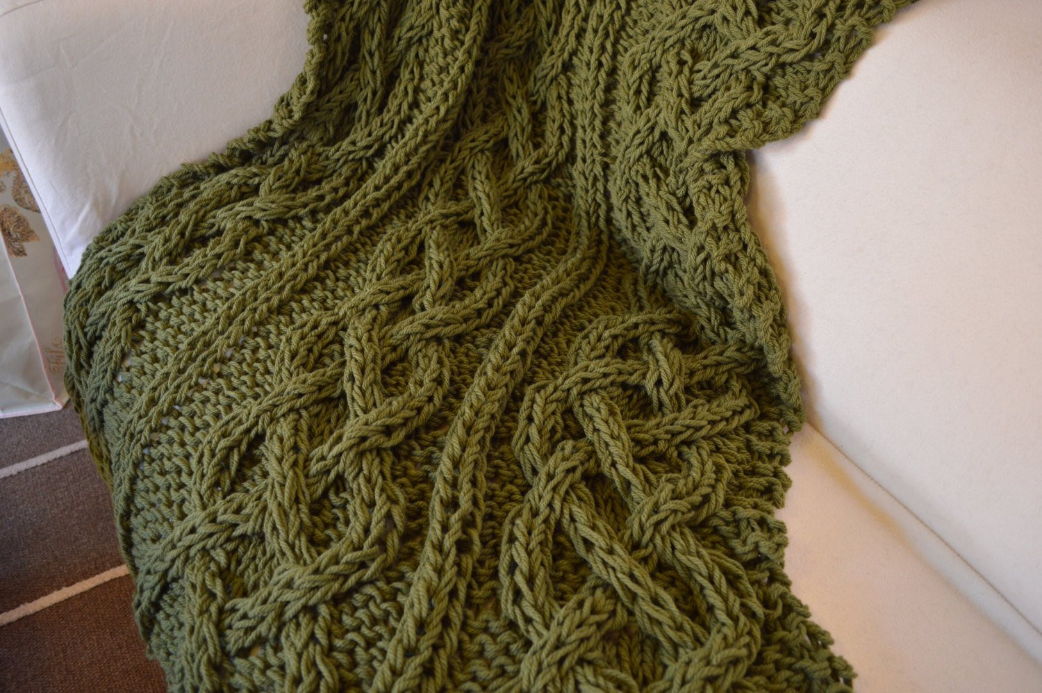 Beautiful Chunky Hand Knitted Cable Blanket Throw Leaf Green Chunky Cable Knit Throw Of New 48 Images Chunky Cable Knit Throw