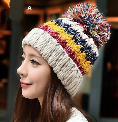 Beautiful Color Block Knit Hat with Hairball Fleece Stocking Cap for Knit Stocking Cap Of Fresh 40 Pictures Knit Stocking Cap