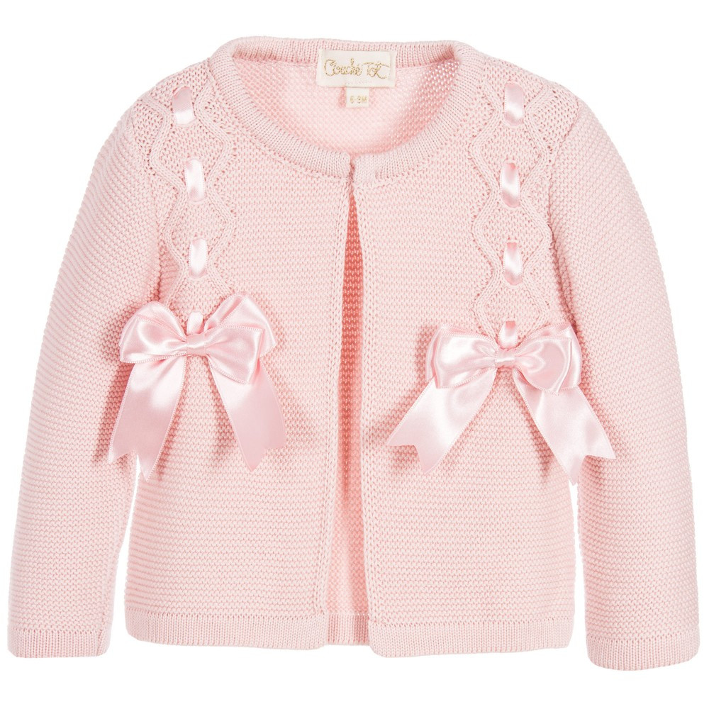 Beautiful Couche tot Baby Girls Pink Knitted Cardigan with Satin Baby Knitted Cardigan Of Amazing 41 Models Baby Knitted Cardigan