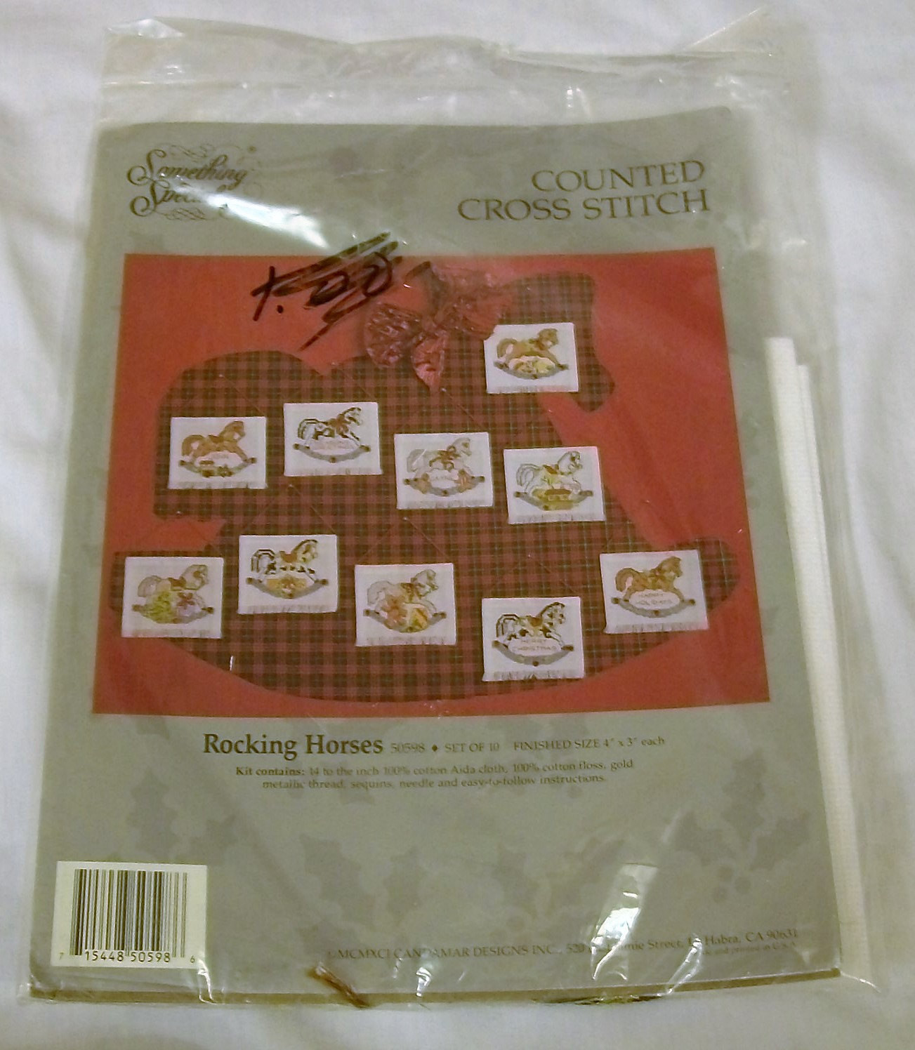 Counted Cross Stitch Kit Christmas Rocking Horses Ornaments