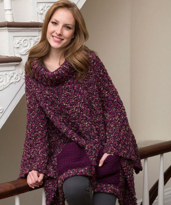 Cozy Pocketed Knit Poncho From Red Heart