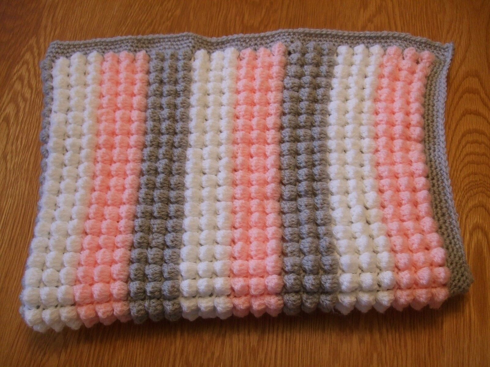 """Beautiful Crochet Baby Blanket Pink Grey and White Size 24"""" X 32 New Baby Blanket Size Crochet Of Contemporary 49 Pictures Baby Blanket Size Crochet"""