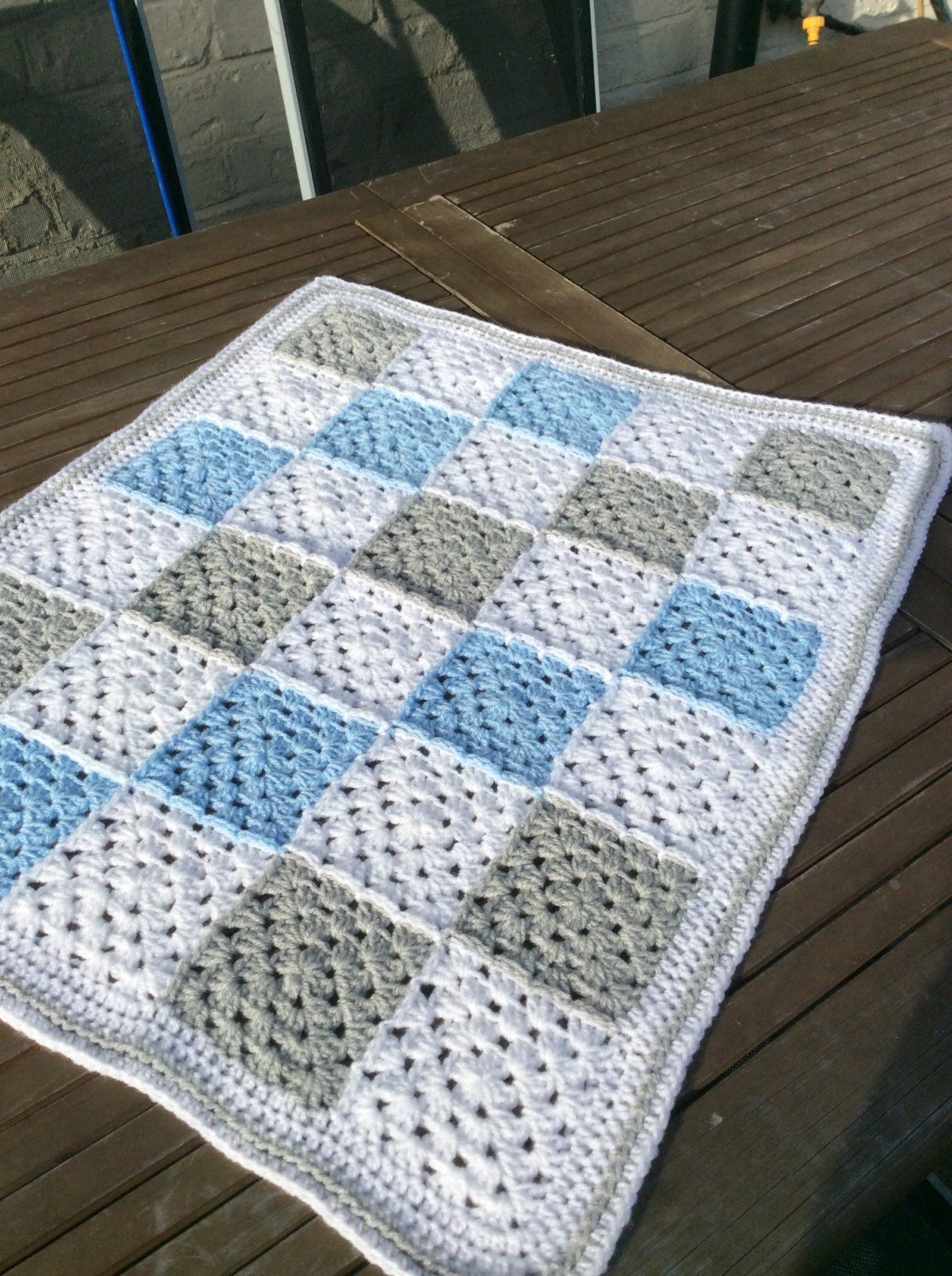 Beautiful Crochet Baby Boy Granny Square Blanket Gingham by Crochetoutre Granny Square Baby Blanket Of Amazing 41 Pictures Granny Square Baby Blanket