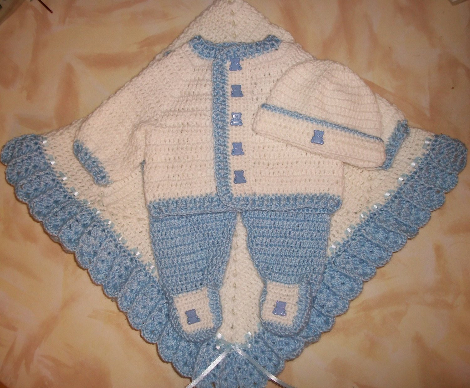 Crochet Baby Boy Sweater Set Layette With Leggings Perfect
