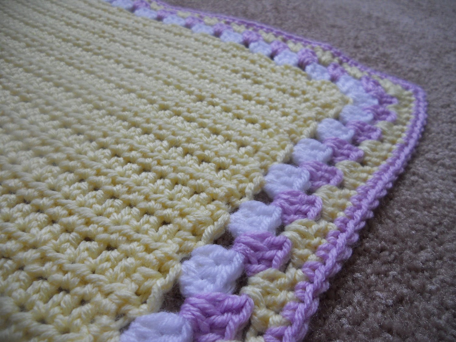 Beautiful Crochet Baby Stroller Blanket with Granny Edging Purple Yellow Blanket Edging Of Great 41 Pics Blanket Edging