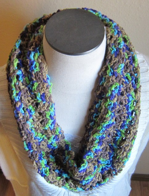 Crochet Cowl Infinity Scarf in Multi Color Green Purple
