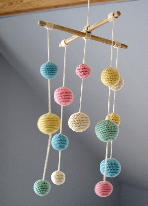Beautiful Crochet Pastel Baby Mobile Colorful Ball Mobile5 Color Crochet Baby Mobile Of Amazing 42 Ideas Crochet Baby Mobile