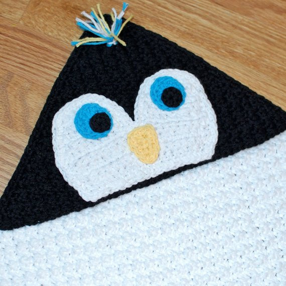 Beautiful Crochet Pattern Penguin Hooded Baby towel Also Makes A Penguin Baby Blanket Of Amazing 48 Ideas Penguin Baby Blanket