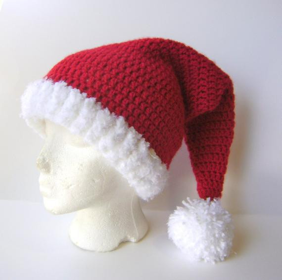Crochet Santa Hat Adult Stocking Cap in Red and White for