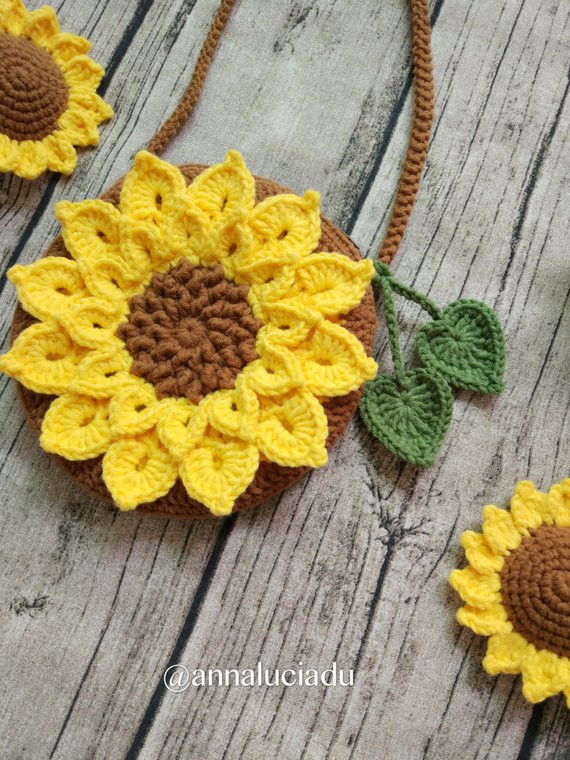 Beautiful Crochet Sunflower Bag Crochet Love Sunflower Sunflower Sunflower Crochet Blanket Of Elegant Hand Crocheted Sunflower Granny Square Blanket Afghan Throw Sunflower Crochet Blanket