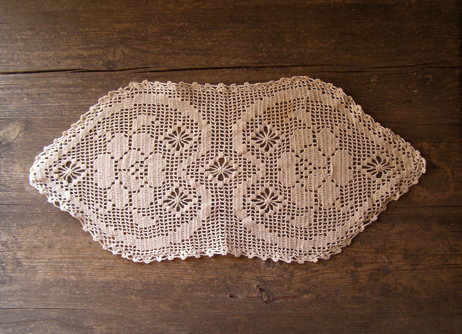 Crochet Table Runner Hearts oval Tablecloth Listed by