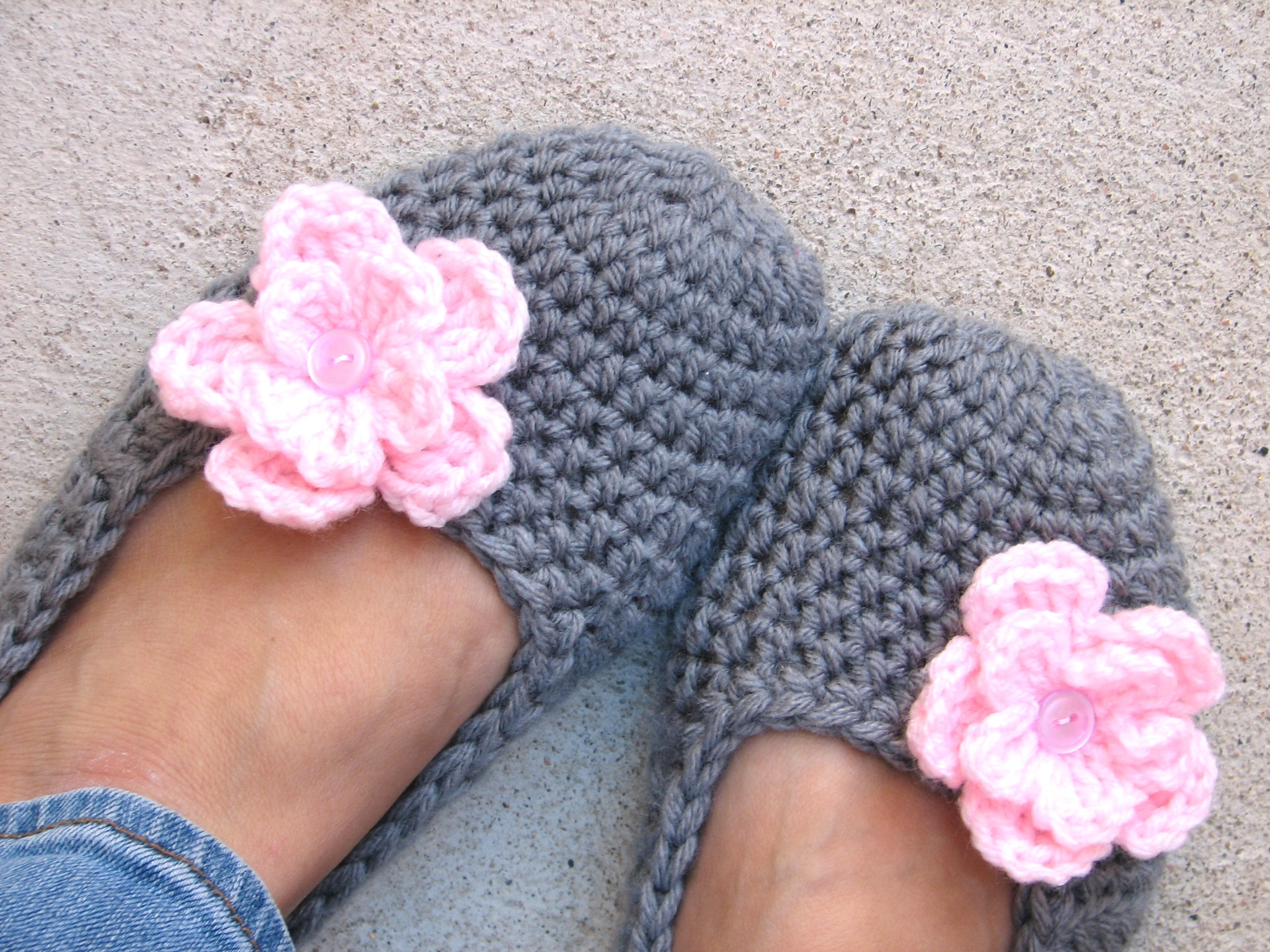 Beautiful Crochet Women Slippers Grey with Pink Flower Crochet Stitches for Beginners Of Amazing 46 Models Crochet Stitches for Beginners