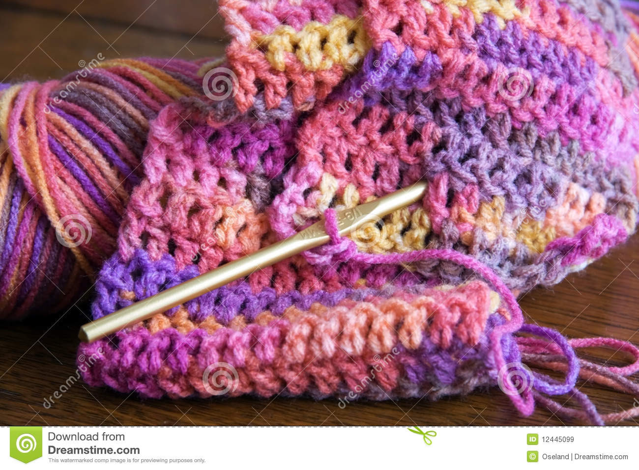 Crochet Yarn And Crochet Hook Royalty Free Stock