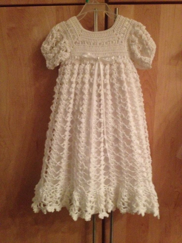 Crocheted Christening Gown with slip underneath