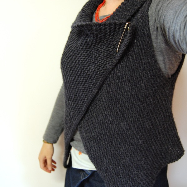 Cuppa & Cake Simple Knitted Wrap Vest Pattern