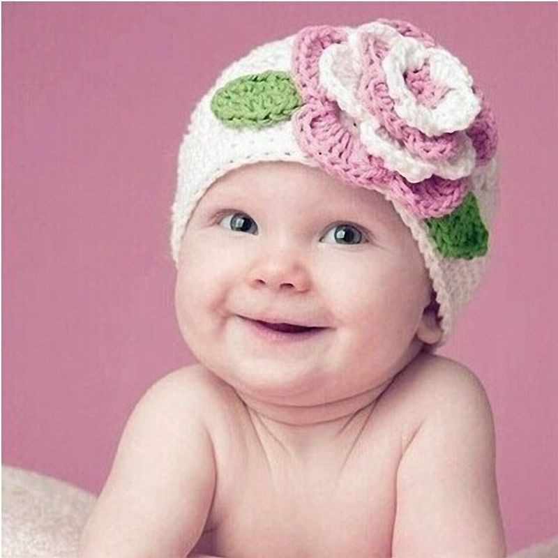 Beautiful Cute Big Flower Baby Kids Infant toddler Girl Warm Beanie Knitted Hats for toddlers Of Attractive 49 Images Knitted Hats for toddlers