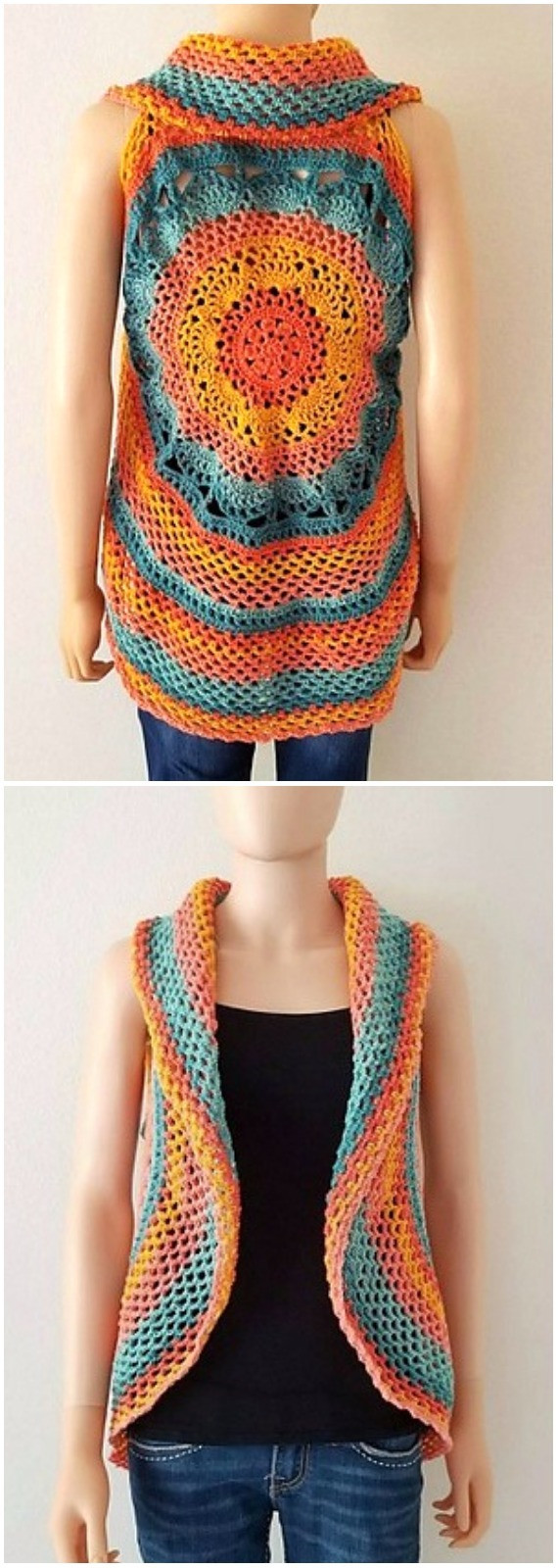 Beautiful Diy Crochet Circular Vest Sweater Jacket Free Patterns Crochet Circular Vest Of Delightful 46 Models Crochet Circular Vest
