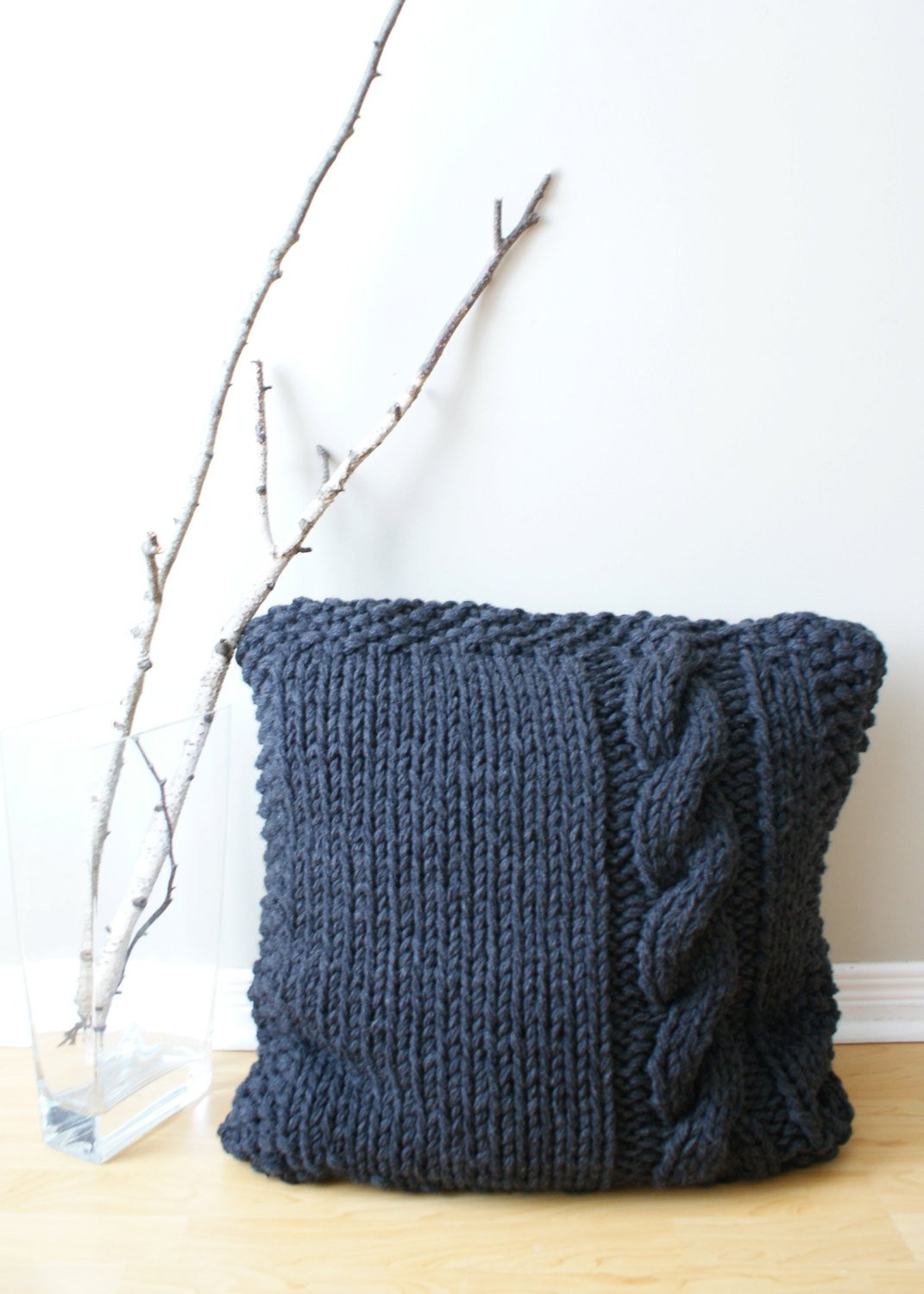 DIY Knitting PATTERN Chunky Cable Knit Pillow Cover