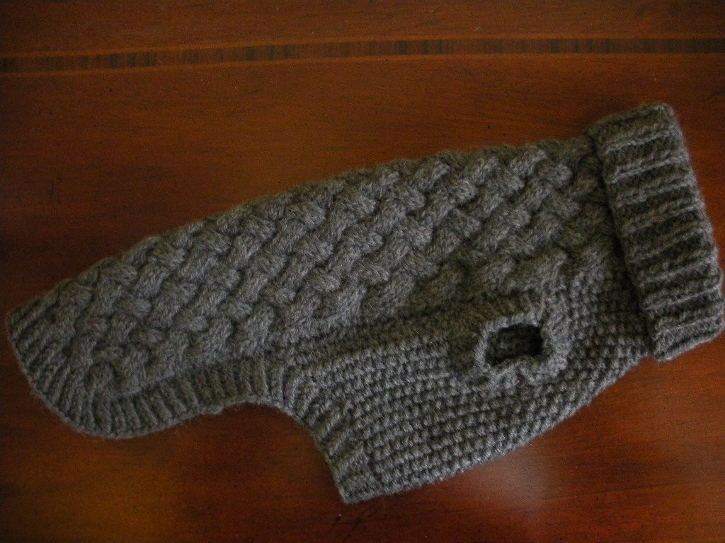 Dog Sweater Basket Weave Cable Knit Charcoal Grey Wool